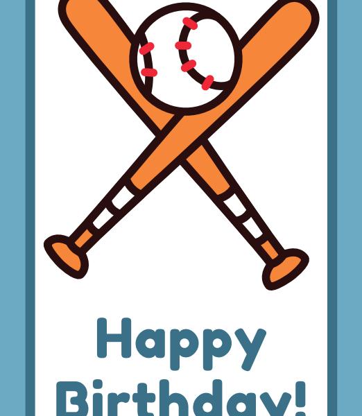 printable baseball happy birthday cards