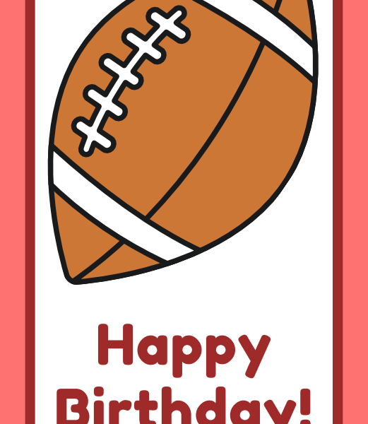 printable football happy birthday cards