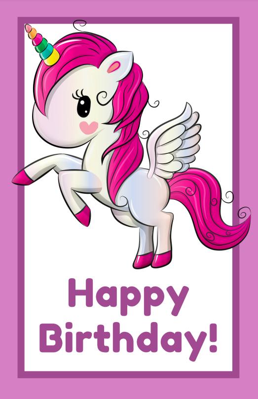 printable unicorn happy birthday cards